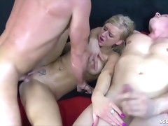 DP Threesome for Skinny German Teen Anna in Homemade Porn